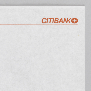 Along upper edge, CITIBANK in red embossed sans serif letters followed by Citibank logo (oval with a four pointed star) in red at upper right.  Thin red line across sheet from left to right.
