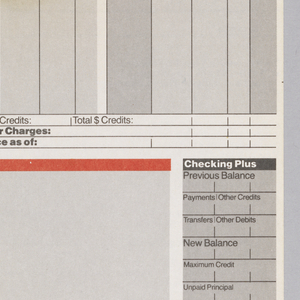Design for Citibank bank statement. Divided into roughly three registers. The the first two registers are demarkated at top with thick blue line that runs width of the page.  In top register, a blue Citibank logotype and logo sit below right side of top blue line. Upper register also contains branch information. Middle register contains gray columns with information pertaining to check information. Third register is demarkated at top with thick orange line. Left of a blank grey rectangle in third register, is text block with checking information.Page ends with a final thick, blue line that runs width of page.