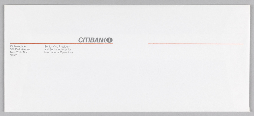 Two thin red horizontal lines, separated by about one inch, run width of paper, about a third of the height down. Above right of first line is Citibank logotype (rendered in caps sans-serif) and logo. Below left of same line is Citibank address alongside personal information.