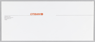 Two thin black horizontal lines, separated by about one inch, run width of paper, about a third of the height down. Aligned right above first line is orange Citibank logotype (rendered in caps sans-serif) and logo. Aligned left below same line is Citibank address.