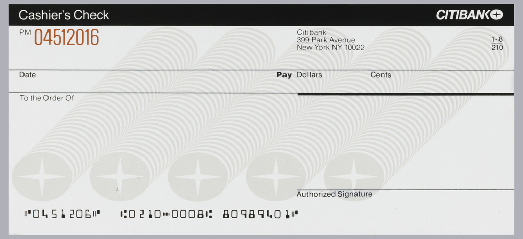 print citibank cashier s check design ca 1975 objects