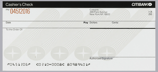 "Design is split into roughly five horizontal lines/registers that running length of page. Top line consists of white text against black background. On left of top line is the text ""Cashier's Check. On right, the Citibank logotype and logo. Second line contains, on left, the check number and, on right, adress information and in fraction form, ""1-8/210."" Third line contains space for writing above date, pay, dollars, and cents sections. The below line contains a line for writing above ""Pay to the order of"" text. Page bottom contains final two lines, the uppermost a signature line. Below left is check routing number. Printed behind document information is light gray rendering of five rows of Citibank logos that stream diagonally down from upper right."