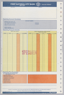 "Bank statement split into roughly five registers. Upper register contains a blue bar with text and Citibank logo. Below is space to write account and branch information. The second register contains information pertaining to checking account summary. The third register, split into two yellow columns contains information pertaining to checking account activity. The fourth register contains information pertaining to ""Checking Plus Summary"" and two orange columns, the first containing various account information. Lower register contains two thin blue lines and text."
