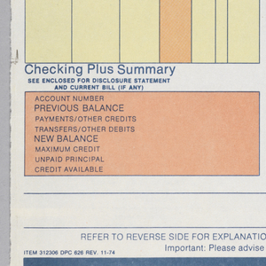 """Bank statement split into roughly five registers. Upper register contains a blue bar with text and Citibank logo. Below is space to write account and branch information. The second register contains information pertaining to checking account summary. The third register, split into two yellow columns contains information pertaining to checking account activity. The fourth register contains information pertaining to """"Checking Plus Summary"""" and two orange columns, the first containing various account information. Lower register contains two thin blue lines and text."""