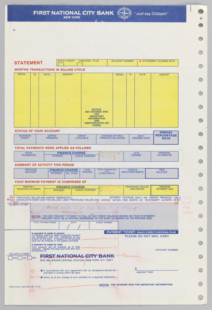 """Bank statement split into roughly three registers. Upper register contains a blue bar inside which is text reading """"FIRST NATIONAL CITY BANK,"""" the Citibank logo, and the phrase """"Just Say Citibank."""" Below is a largely blank space aside from the character """"H."""" Second register is divided into five sections, each pertaining to overall statement information. Each section contains header in red caps. The first section, """"Months Transactions in billing cycle"""" is split into nine columns within yellow box. Second, third, and fourth sections are split into similar columns within blue boxes, their respective headers reading """"status of your account,"""" """"total payments were applied as follows,"""" """"summary of activity this period,"""" and """"your minimum payment is comprised of."""" Below this is area for specific payment information including """"total payment made,"""" the date, and check number. The third register is separated from above registers with a dashed blue line indicating that it may be cut off. Register contains bank address, space for teller's stamp, information about making payments, and a section to indicate amount paid. Running the right length of page is a line of sprocket holes."""