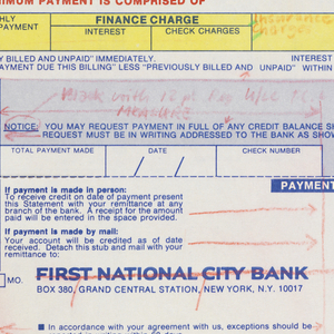 "Bank statement split into roughly three registers. Upper register contains a blue bar inside which is text reading ""FIRST NATIONAL CITY BANK,"" the Citibank logo, and the phrase ""Just Say Citibank."" Below is a largely blank space aside from the character ""H."" Second register is divided into five sections, each pertaining to overall statement information. Each section contains header in red caps. The first section, ""Months Transactions in billing cycle"" is split into nine columns within yellow box. Second, third, and fourth sections are split into similar columns within blue boxes, their respective headers reading ""status of your account,"" ""total payments were applied as follows,"" ""summary of activity this period,"" and ""your minimum payment is comprised of."" Below this is area for specific payment information including ""total payment made,"" the date, and check number. The third register is separated from above registers with a dashed blue line indicating that it may be cut off. Register contains bank address, space for teller's stamp, information about making payments, and a section to indicate amount paid. Running the right length of page is a line of sprocket holes."