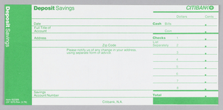 Citibank deposit form in three vertical registers with green ink on white paper. Left register: green ground with white text. Center register: green text on white ground. Five lines below for account holder's information. Right register: green ink on white ground. Citibank logo at top right with thick line underneath.