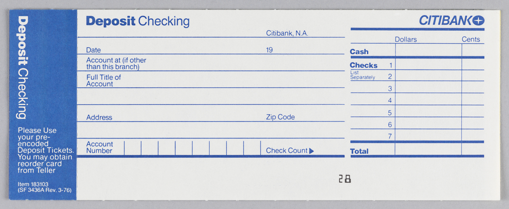 graphic relating to Us Bank Deposit Slip Printable identified as Print, Citibank examining deposit slip style and design, ca. 1975