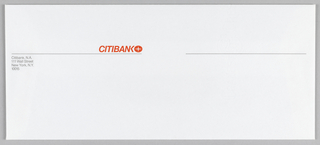 Envelope with Citibank Logo at upper left of center: Citibank in grey text with four-pointed star encircled. Below logo a thin orange line, broken at center.