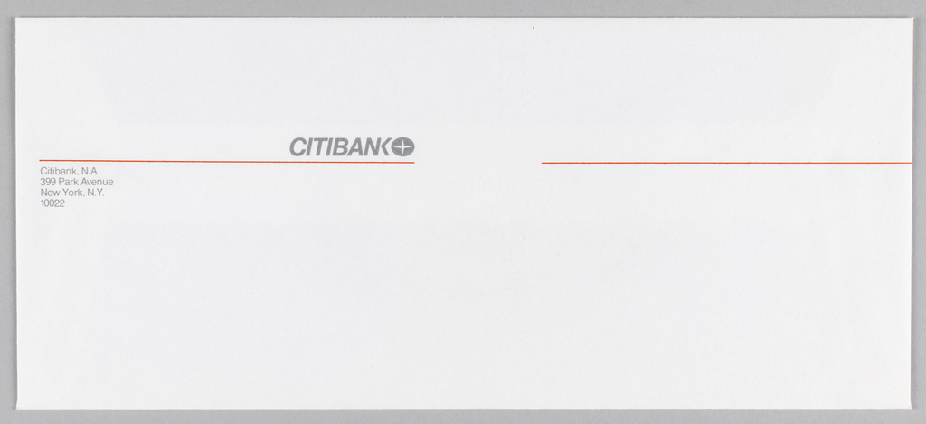 Upper left of center: Citibank logo in grey ink with four-pointed star encircled. Below logo a thin orange line, broken at center.
