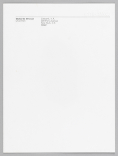 Letterhead with Citibank logo embossed at top right. Thin black line running almost width of page underneath.
