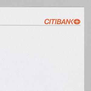 Citibank logo at top right with Citibank in orange text and a circle with a four-pointed star inside following. Under this a thin dark line runs the almost the width of the page.