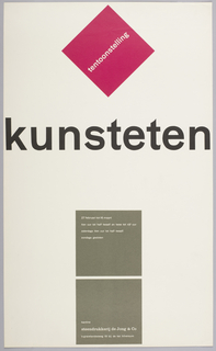 Exhibition poster in three registers. Top: red diamond-shaped square with diagonal white text. Center: Large black title text. Bottom: Two grey squares stacked vertically with white text inside.