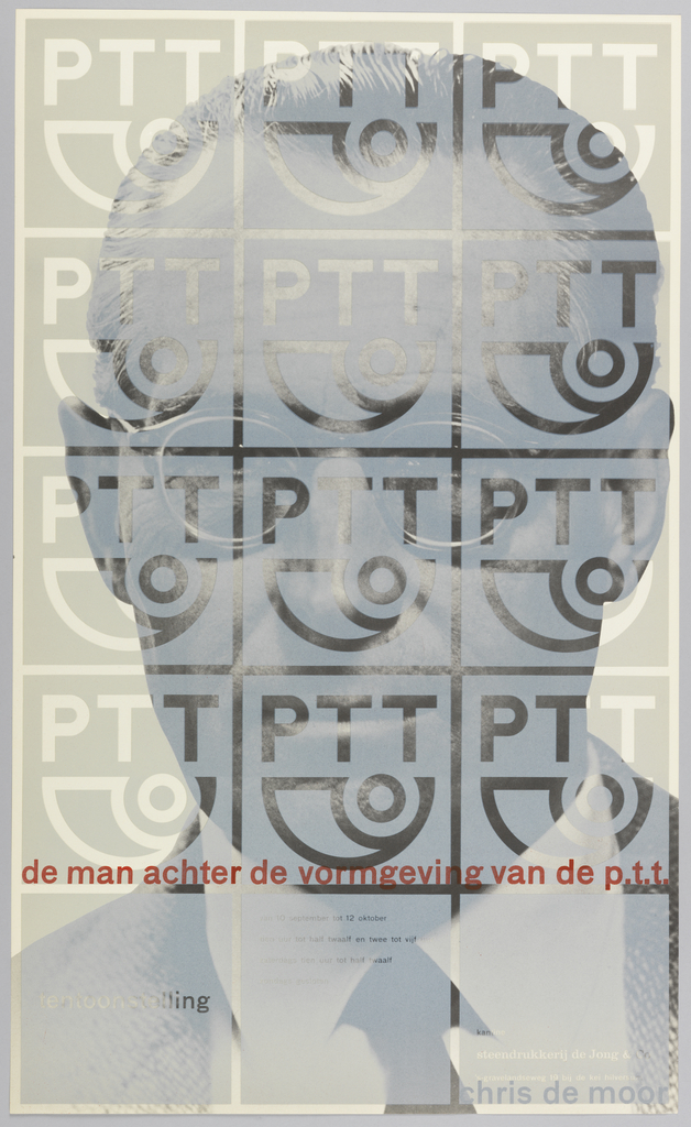 "Exhibition poster with a black and white photo of a man with glasses from the shoulders up. Photo is covered with squares (5 vertically x 3 horizontally) printed to form an opaque layer on top of the photo. The top 4 rows of squares contain the logo of the Dutch Post Office, which is transparent, like the outlines of the squares. At the bottom of the 4th row of squares red title text. The bottom row of squares is inscribed with transparent text. ""chris de moor"" in grey text at bottom right."