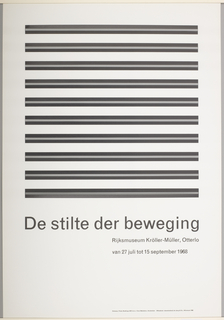 Exhibition poster for Rijksmuseum Kröller-Müller, Otterlo, The Netherlands (July 27-September 15, 1968).