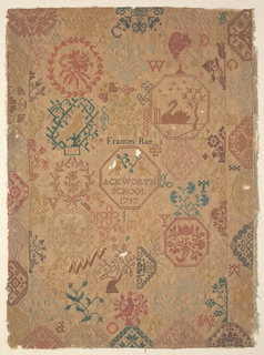 """Detached motifs, including a swan, flowers, and birds, mostly framed or in wreaths. Letters, numerals, and initials are scattered over the sampler. In the center, the signature """"Frances Rae"""", """"Ackworth School 1797""""."""