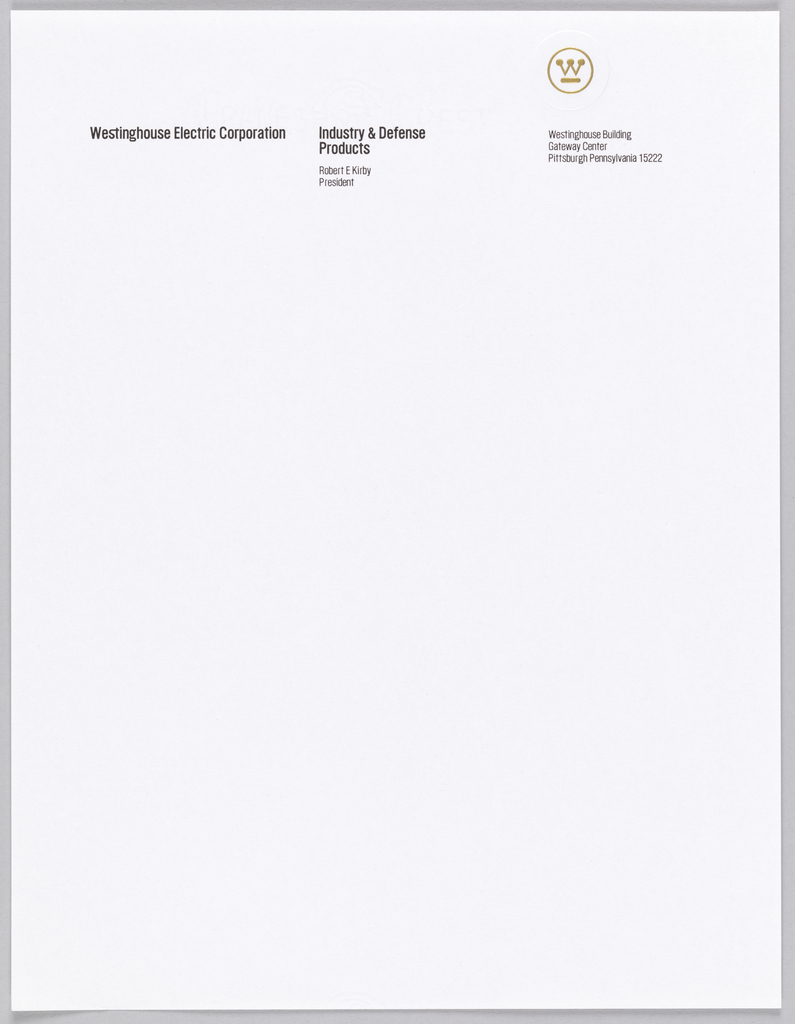 Print, Westinghouse Letterhead