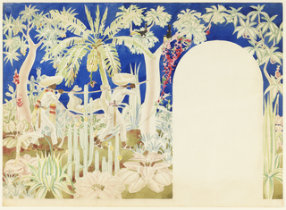 Horizontal format mural design for an interior wall with an arched door, the section for the door left blank at lower right. Tropical landscape scene with many varieties of plants, flowers, and foliage including maguey and banana palms and saguaro cactus. At left, two male figures wearing sombreros and sandals with swords at their sides carry a dead cougar tied to a pole. Above, two toucan birds perch in the trees.