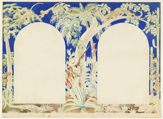 Horizontal format mural design for an interior wall with two arched doorways, the sections for the doors left blank at left and right. Tropical landscape scene with many varieties of plants, flowers, and foliage including maguey and banana palms and saguaro cactus. At center, a male figure wearing a sombrero and serape aims a rifle at a spotted cat perched on the branch of a tree above. An alligator at lower left; at upper left, two monkeys jumping among tropical trees.