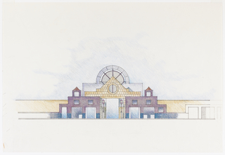 Design for arcade with large center entrance flanked by lamps. Large window above center entrance.