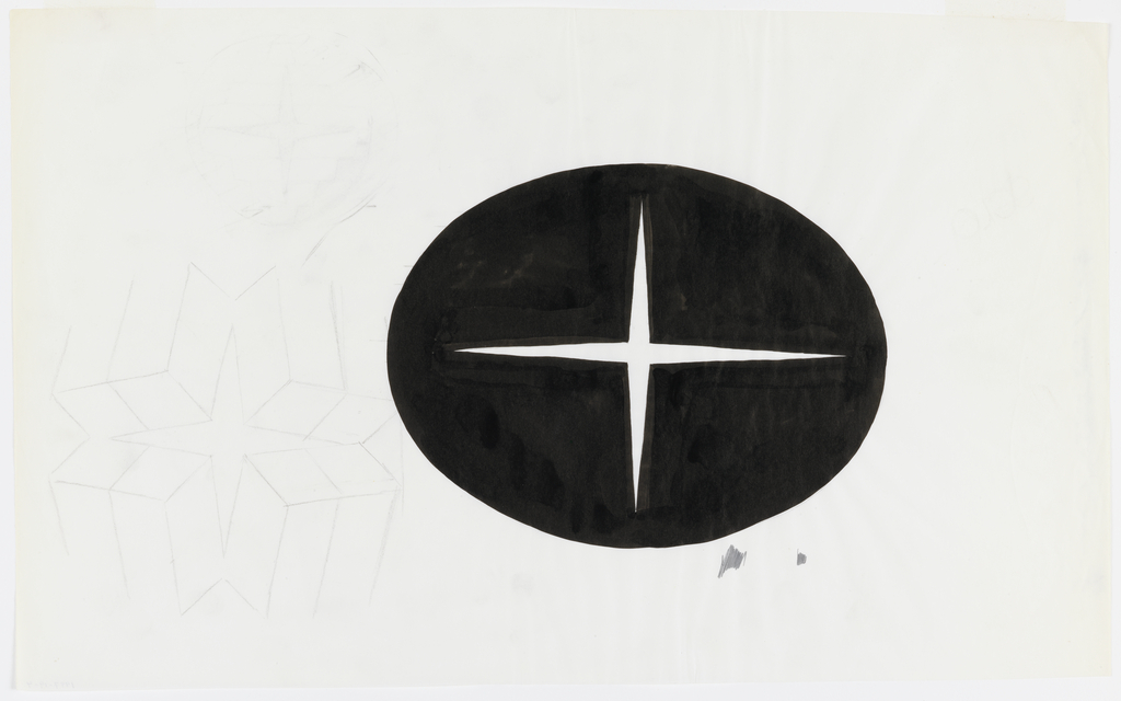 Design consists of a solid black oval with a thin white four pointed star at center, positioned slightly to the right of the center of the sheet.  At left, in graphite, four perspectivally drawn boxes, tilted and joined so as to produce a four pointed star at center of design.  Above, in graphite mostly erased, a circle with a four pointed star at center.