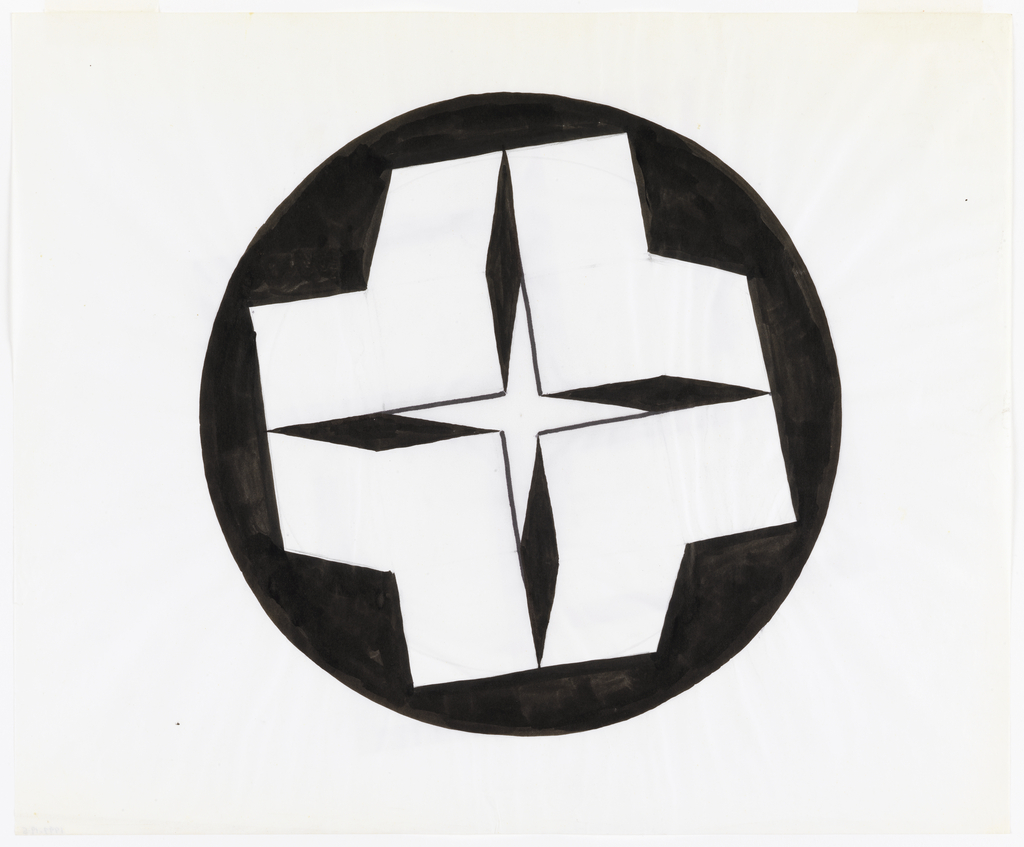 Circular design centered on sheet consisting of a four pointed vertically oriented star motif, outlined in black with lozenge shaped black tips. This pattern is centered on a white, solidly drawn cross shape which floats in the center of a black circle.