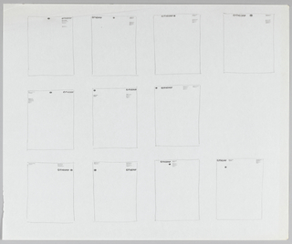 Sketch depicting 11 thumbnail designs for Citicorp letterhead. Divided into three registers of four, three, and four designs. Each design contains slight variations in placement of logo, name, and addendum information.