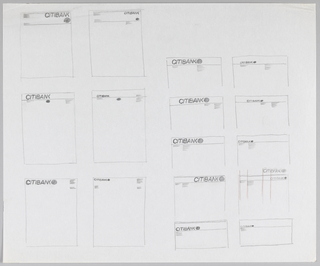 Sketch depicting thumnail designs for Citibank stationery. Layout is divided into two distinct sections. Left half contains 2x3 grid of letterhead designs. Right half contains 2x5 grid of letterhead, statement, and envelope designs, many of which only display top portion of the document. Each design contains slight variations placement of logo and information.
