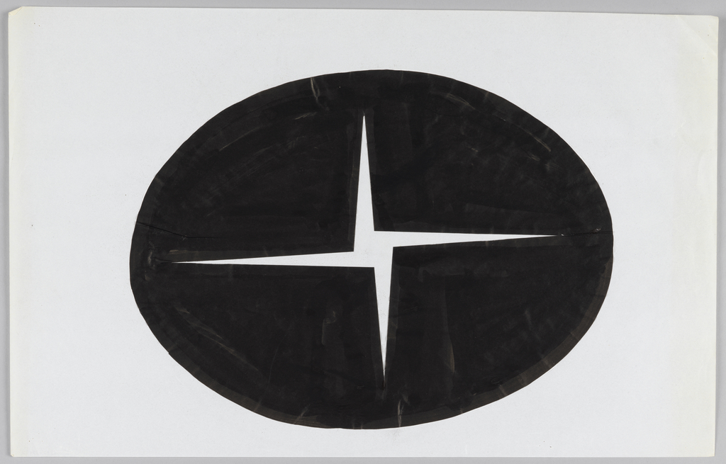 Black ovoid shape with white four-pointed pinweheel form in its center. Central shape is reminiscent of a closing camera shutte. Overall logo could be interpreted as depiction of four black sections closing in together.