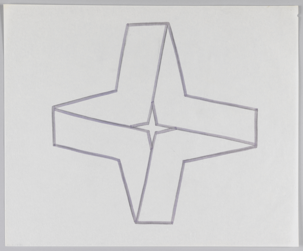 Four-pointed star shape with flat points running perpendicular to its axes. Form created by four 6-sided closed shapes that, combined radially, create illusion of folded ribbon. Ribbon form contains small section of negative space at center in shape of four-pointed star.