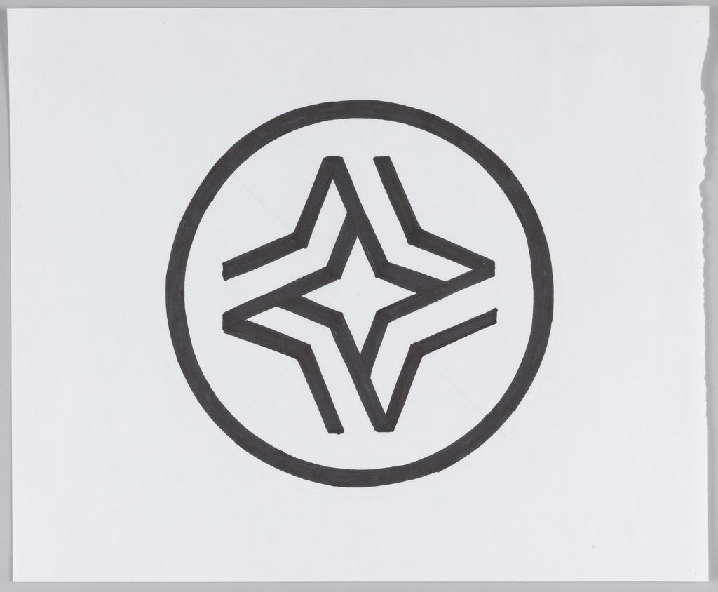 Circle, outlined in black, enclosing  four-pointed star shape. Star's border is open form constructed from bent black lines which create illusion of folded ribbon.