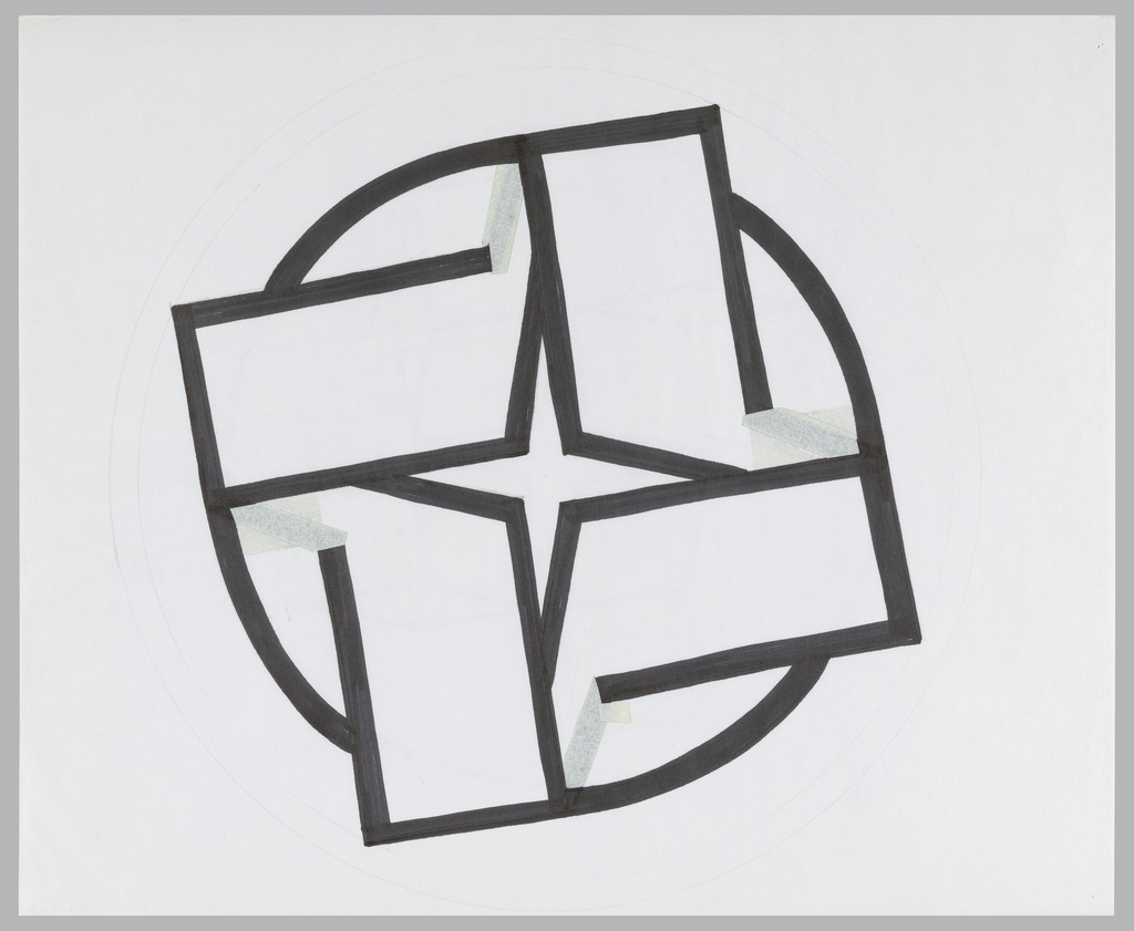 Four-pointed star shape constructed by the negative space left by a series of black lines drawn to create illusion of opening rectangular forms. These forms extend beyond black-bordered circle which partially frames the design.
