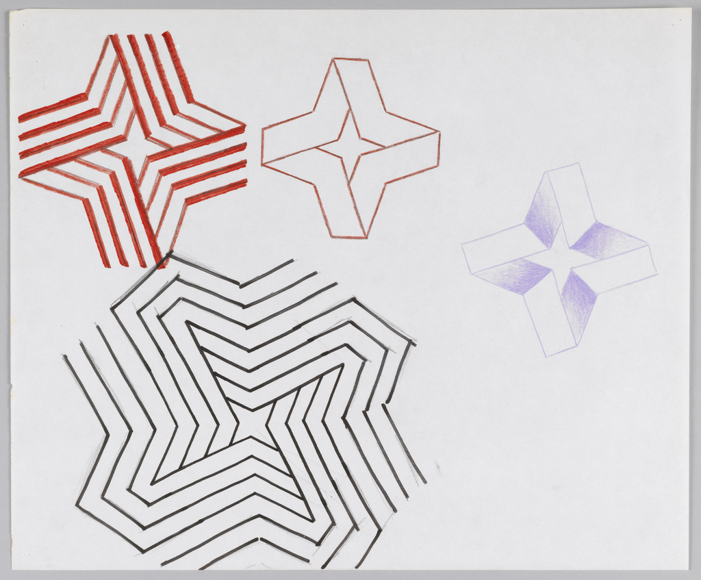 Assortment of differently sized Citicorp logo designs, each a slight variation of four-pointed star shape. Largest form drawn in black marker, middle two in red color pencil, and smallest form in purple color pencil.