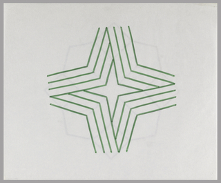 Four-pointed star shape constructed from four groupings of four thin, bent lines grouped together to create illusion of a bent ribbon. Interior negative space forms four-pointed star.
