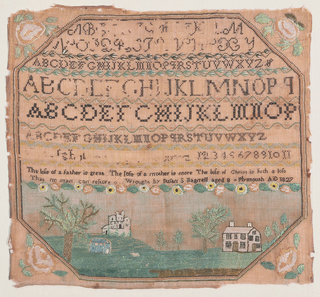 Within an octagonal framework are bands of alphabets and numerals, a verse and inscription, floral cross borders and a landscape showing three buildings with trees and sheep. With roses in the spandrels.