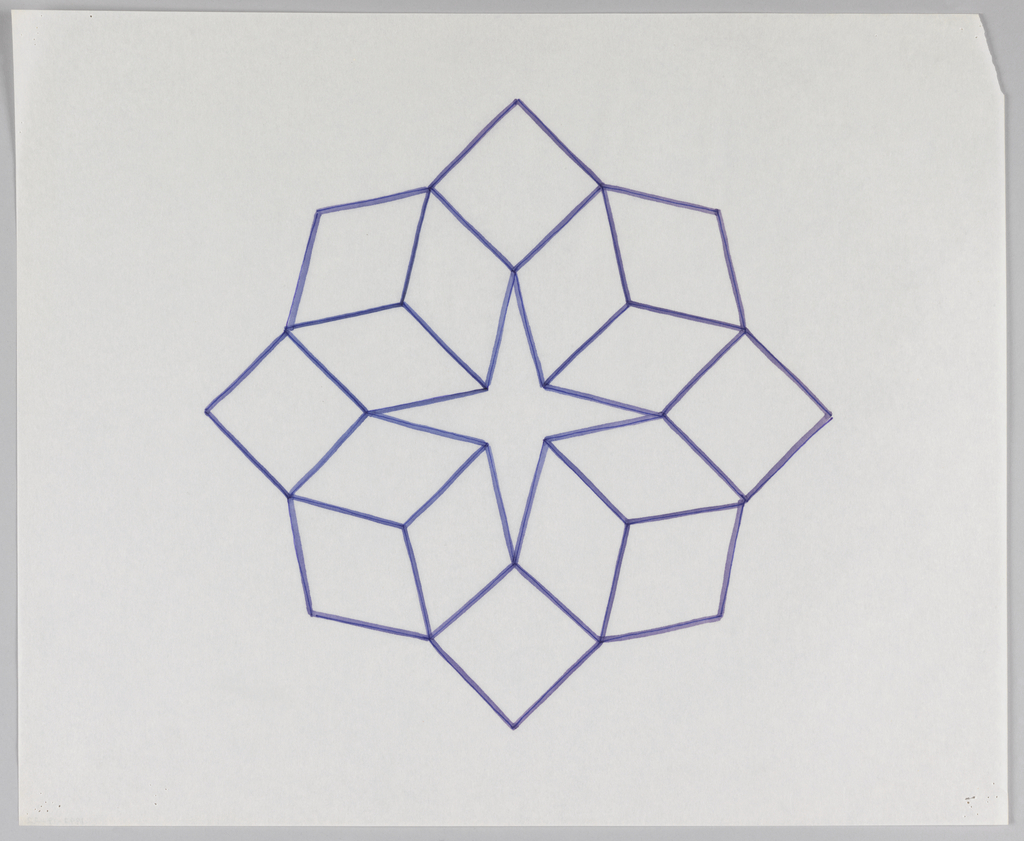 Four-pointed star shape with outward-facing cube renderings fitted within each corner. Square shape fits within each of the four corners created by the connection of two cube renderings.