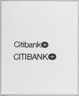 "Two renderings of  Citibank logotype alongside Citibank logo. Each design uses sans-serif font for Citibank logotype. Upper design uses lowercase letters following ""C,"" lower design rendered in caps."