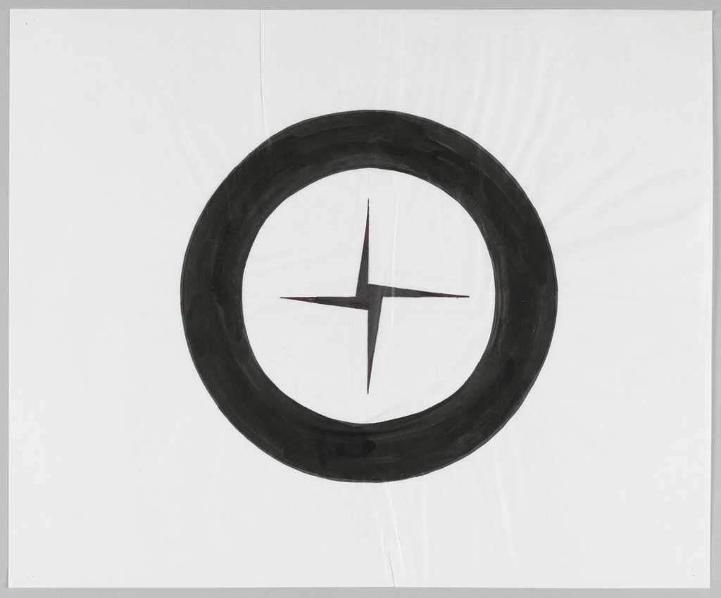 Circle with a thick black border encloses black four-pointed pinwheel shape with thinly tapered points.