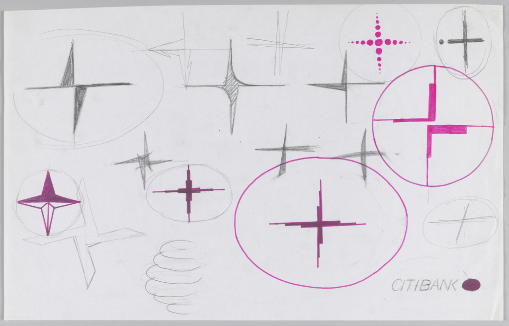 18 randomly organized sketches of various possible Citibank logos in different sizes. Six logos are highlighted or drawn with pink marker in addition to graphite.