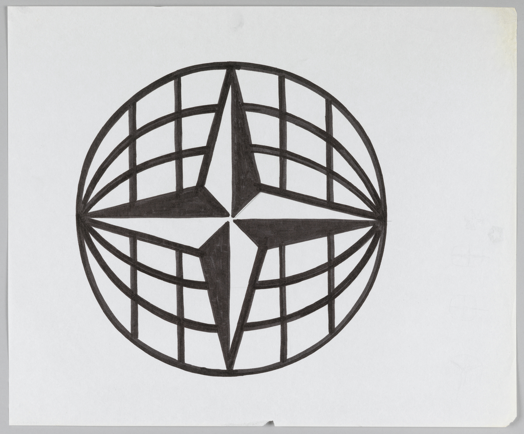 Vertically-oriented four-point nautical star contained within circle. Circle contains a sideways rendering of longitude and latitude lines.