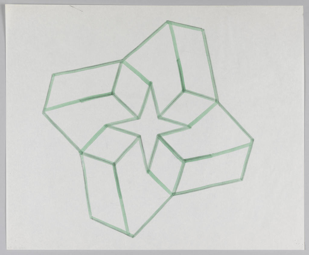 Rendering of 3-dimensional V-shaped blocks, combined radially into pinwheel shape that forms, at center, a four-pointed star shape.