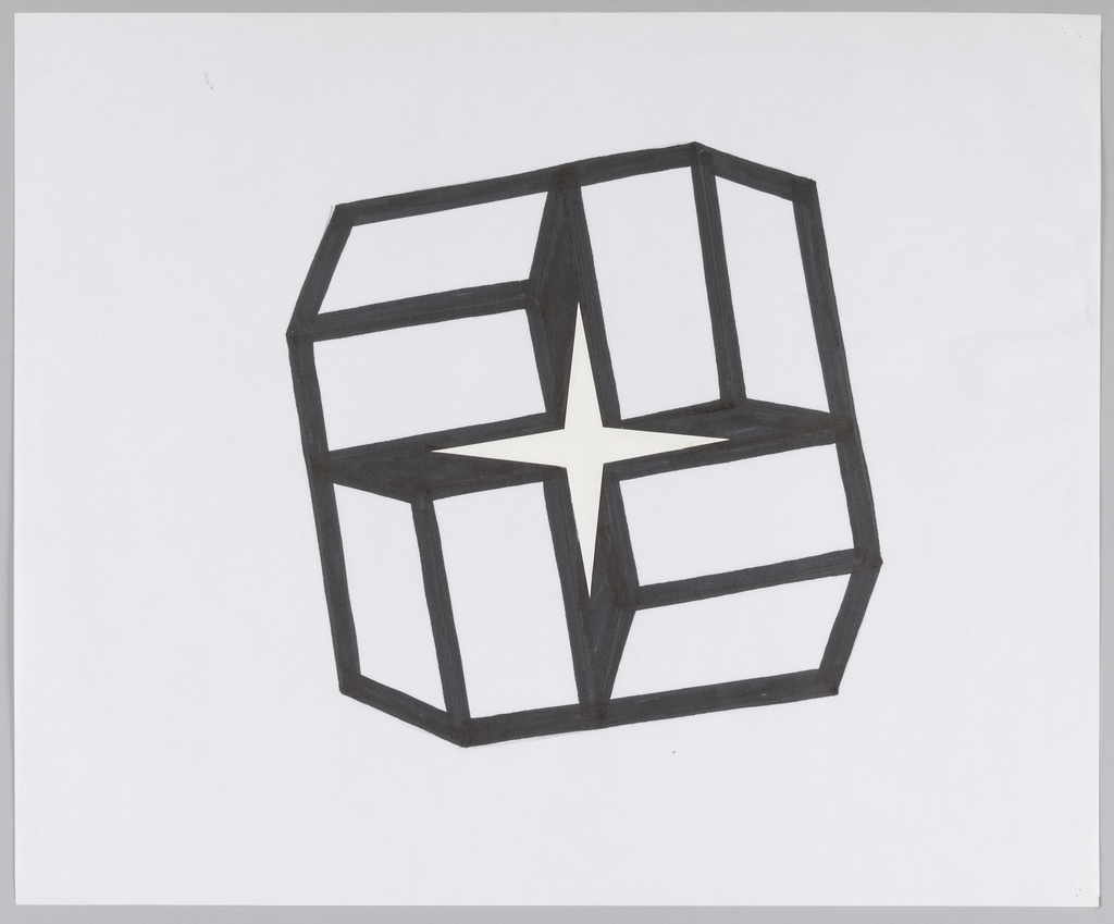 Set of four boxes clustered radially together. Negative space formed by this grouping creates four-pointed star shape.