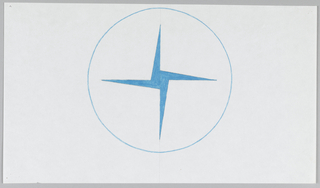 Circle, outlined in thin blue line, encloses a central, vertically-oriented pinwheel shape with thinly tapered points.