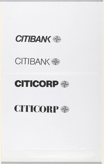 "Vertical list of four possible Citibank/Citicorp logotype designs. Top design uses bold italic sans-serif font. Second design uses thin sans-serif font. Third design features the word ""Citicorp"" in a bold sans-serif font. In fourth design, Citicorp is rendered in bold serif stencil font. Alongside each logotype design is a logo depicting a four-pointed nautical star within horizontal oval with longitude and latitude lines."