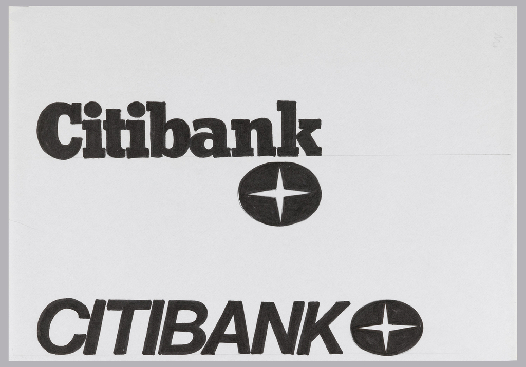 Two logo/logotype designs, one on top of the other. Top logotype is rendered in bold slab-serif font. Below logotype is a black horizontal oval containing a white four-pointed star. Second design contains a bold italic sans-serif logotype with same star-in-oval logo, right.