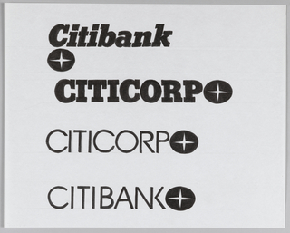 Vertical list of four Citibank/Citicorp logotype designs. Top two designs use bold slab-serif font with second design rendered in caps. Bottom two designs use thin sans-serif font. Each logotype is paired with logo depicting four-pointed star within black horizontal oval. On first design, logo is placed directly below logotype, left. On bottom three designs, logo is placed alongside logotype, right.