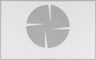 Gray circle with four thin, triangular cuts removed on four sides. The remaining shape is reminiscent of a pinwheel, a flower, or possibly the shutter of a camera.