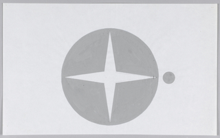 One large gray circle with a four pointed, vertically oriented star at center and a small gray circle to the right, lined up with the horizontal axis of the star.  A small black graphite line at right tip of star.