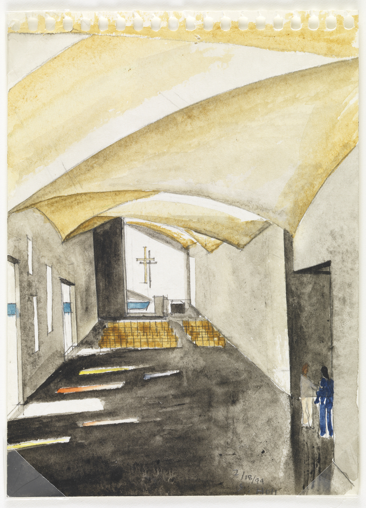 Drawing Interior View Of The Chapel Of St Ignatius Seattle University Processional Corridor Feburary 18 1994 Objects Collection Of Cooper Hewitt Smithsonian Design Museum
