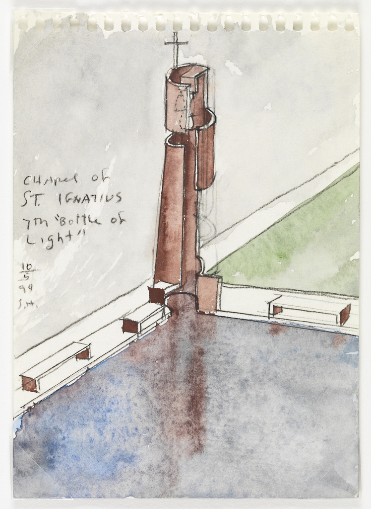 Between the corners of a reflecting pool and a green grass lawn is a cylindrical-shaped (yet cut-out) tower with a cross at the top.  Verso drawing in graphite and gray watercolor: Interior room with a ceiling-high window and two benches parallel to the window.